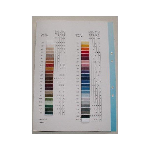 Sytråd - prøvekort med de 40 farver vi lagerfører